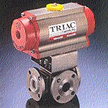 Triac Pneumatic Actuated A/T Stainless Steel Flanged 3-way Ball Valve.